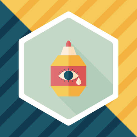 corrective: Eye Drop flat icon with long shadow Illustration
