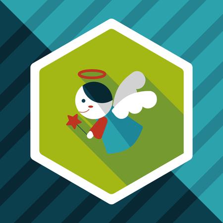 valentine cherub: angel flat icon with long shadow