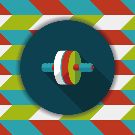 body toning: exercise roller flat icon with long shadow
