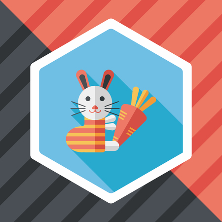 coney: Rabbit with carrot flat icon with long shadow Illustration