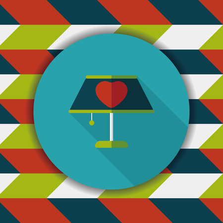 lampshade: Valentines Day heart lamp flat icon with long shadow Illustration