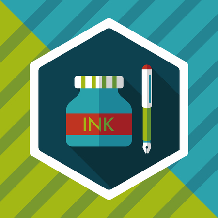writing instruments: pen and  ink bottle flat icon with long shadow