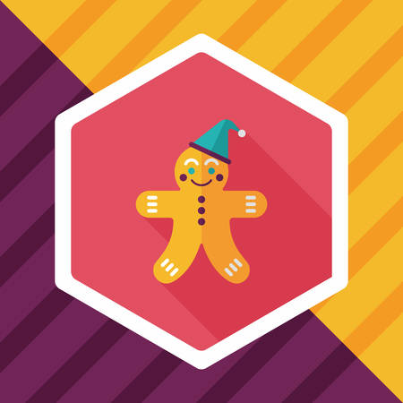 gingerbreadman: gingerbread man flat icon with long shadow