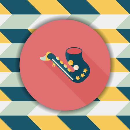 blare: saxophone flat icon with long shadow Illustration