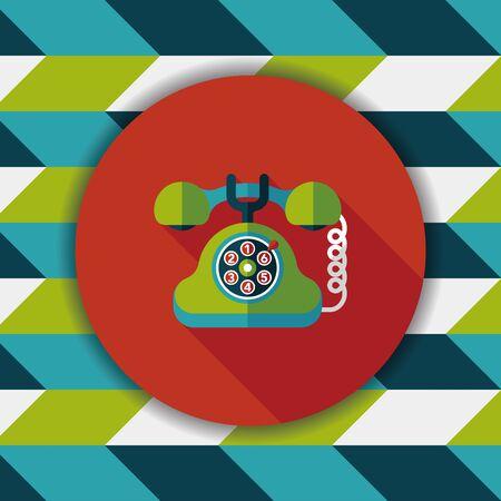 retro telephone: Retro telephone flat icon with long shadow Illustration