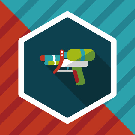 space wars: Water Gun flat icon with long shadow
