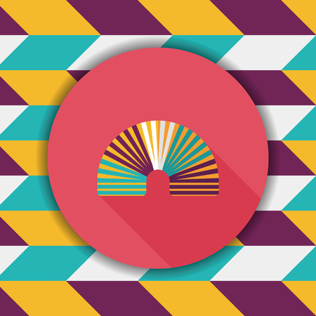 coil springs: Rainbow spiral flat icon with long shadow