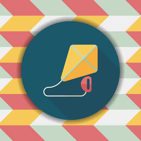 spring coat: kite flat icon with long shadow