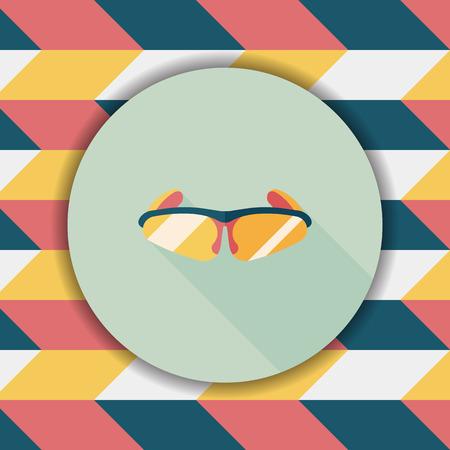 eyewear fashion: bike sunglasses flat icon with long shadow