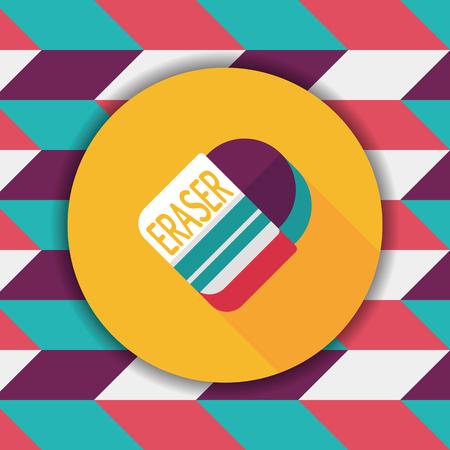 eraser: Eraser flat icon with long shadow