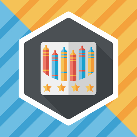crayons: crayons flat icon with long shadow