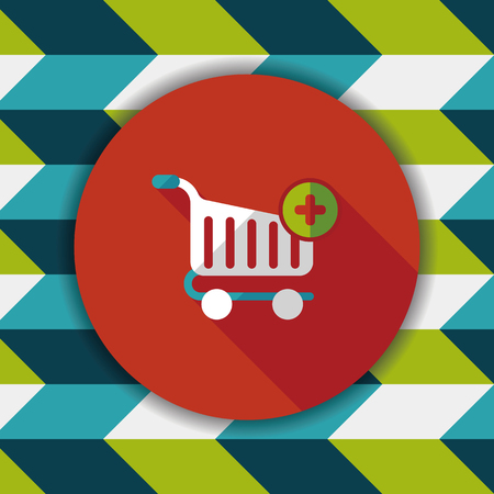shoppingcart: shopping cart flat icon with long shadow Illustration