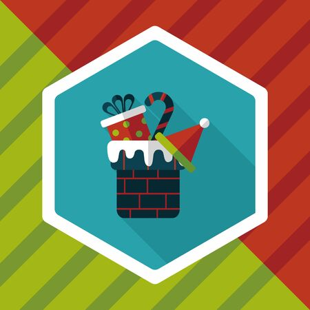 christmas gifts: Christmas gifts flat icon with long shadow Illustration