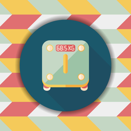 obsession: Weight scale flat icon with long shadow Illustration