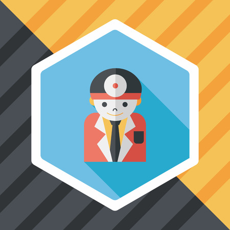 surgeon mask: medical people with stethoscopes flat icon with long shadow Illustration