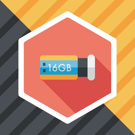 usb flash memory: Usb flash memory flat icon with long shadow