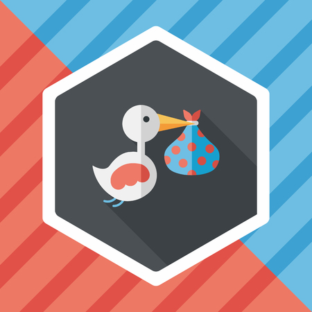 lass: bird and baby flat icon with long shadow