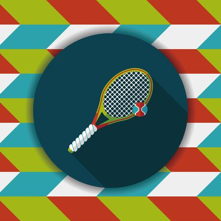 tennis flat icon with long shadow Illustration