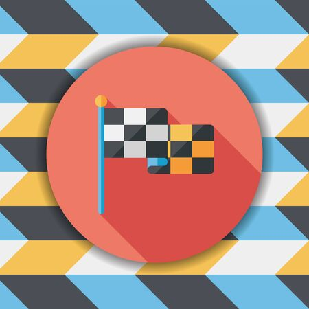 motorized sport: racing flags flat icon with long shadow
