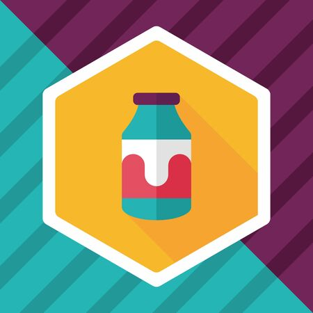 pasteurized: milk flat icon with long shadow Illustration