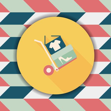 shoppingcart: shopping handling trolley flat icon with long shadow