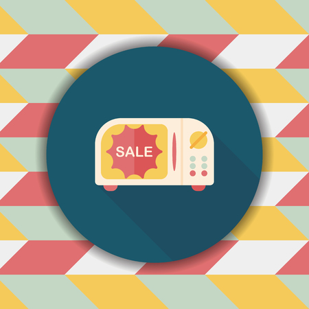 kitchener: shopping sale microwaves oven flat icon with long shadow
