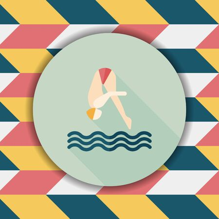 plunge: Jump Diving flat icon with long shadow Illustration