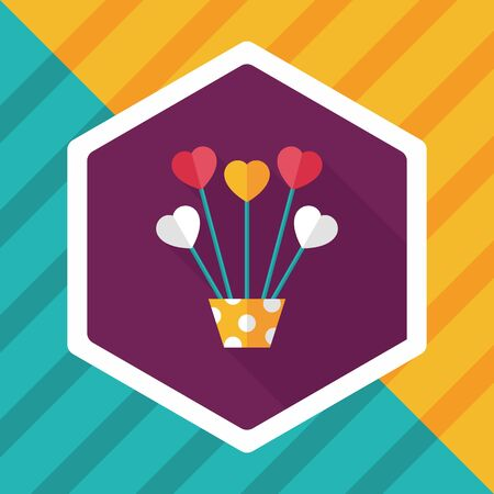heart flower: heart flower flat icon with long shadow