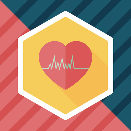 medical heart: ECG flat icon with long shadow