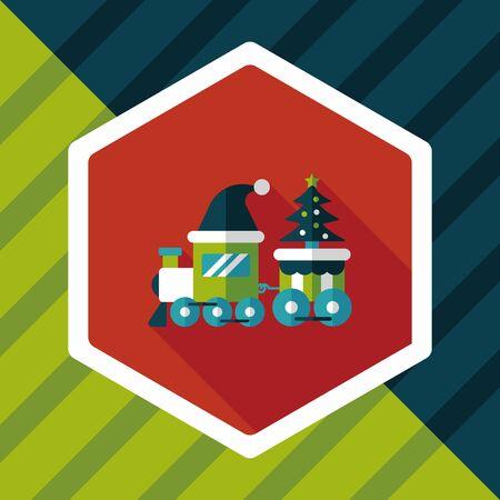 christmas train: Christmas train toy flat icon with long shadow