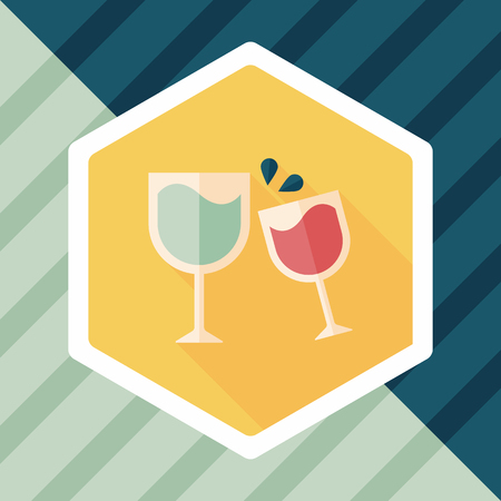 Martini glass cheers flat icon with long shadow