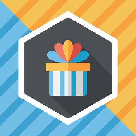 hand knot: Gift flat icon with long shadow Illustration