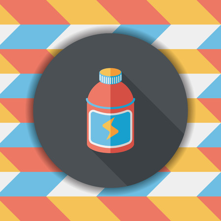 energy drinks: energy drinks flat icon with long shadow