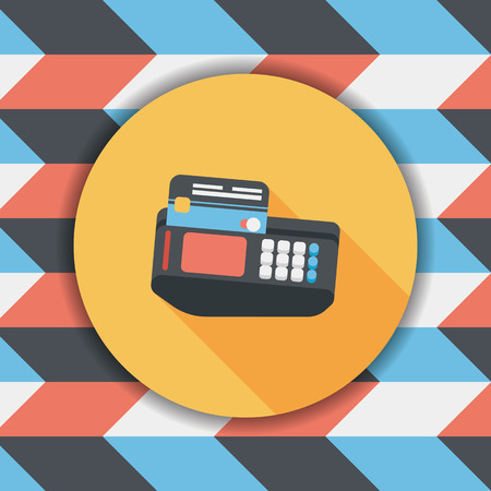 Shopping credit card machine flat icon with long shadow