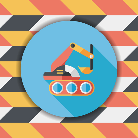 digger: Excavator digger flat icon with long shadow