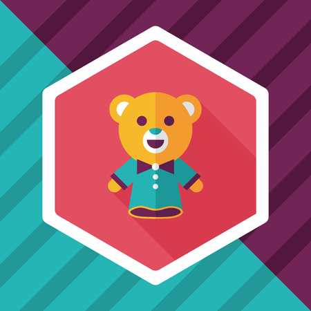 fable: bear hand puppet flat icon with long shadow Illustration