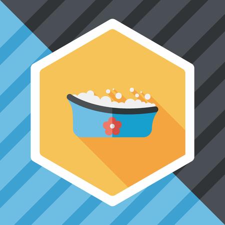 baby bath: baby bath flat icon with long shadow Illustration