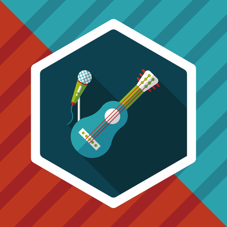 chord: guitar flat icon with long shadow Illustration
