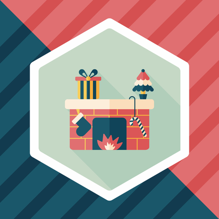 fire place: Christmas fireplace flat icon with long shadow Illustration