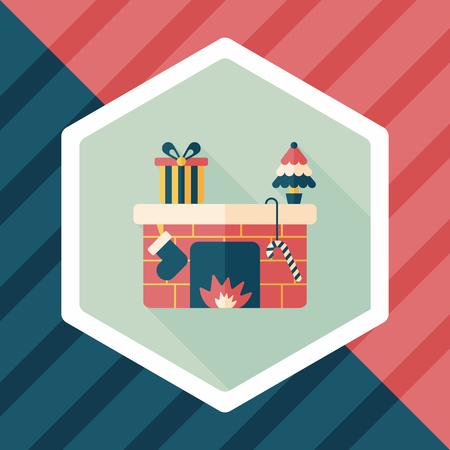 christmastime: Christmas fireplace flat icon with long shadow Illustration