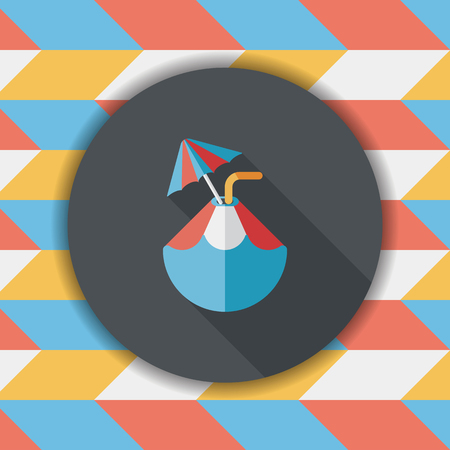 coco: Coconut Water Drink , flat icon with long shadow Illustration