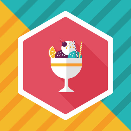 mixed nuts: ice cream flat icon with long shadow