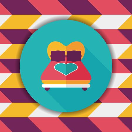 day bed: Valentines Day lover bed flat icon with long shadow