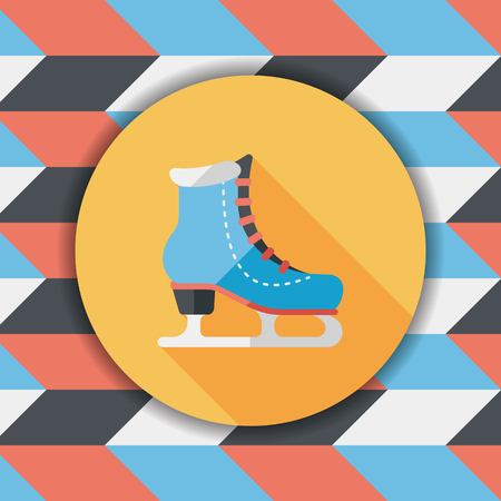 glide: ice skate flat icon with long shadow