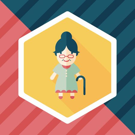 woman shadow: old woman flat icon with long shadow Illustration