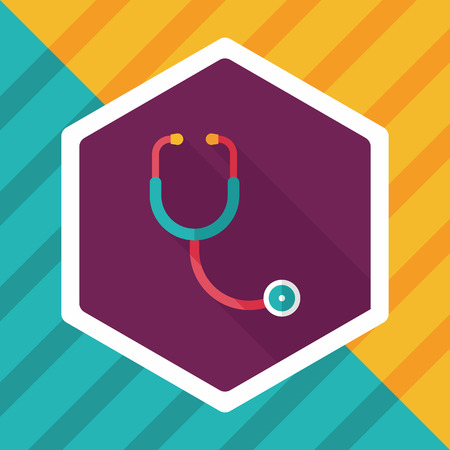 hear: stethoscope flat icon with long shadow