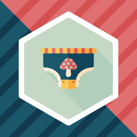 nappy: diaper flat icon with long shadow