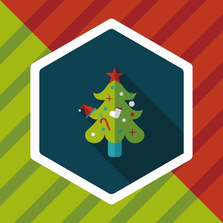 christmas icon: Christmas tree flat icon with long shadow Illustration