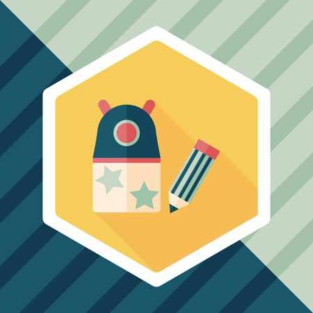 pencil sharpener: Pencil sharpener flat icon with long shadow Illustration