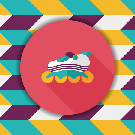 casters: roller skates flat icon with long shadow Illustration